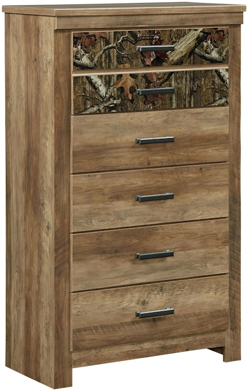 Standard Furniture Habitat 5 Drawer Chest with Camouflage Print Drawer Fronts