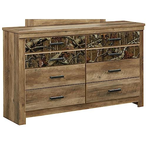 Standard Furniture Habitat 6 Drawer Dresser with Camouflage Print Drawer Fronts