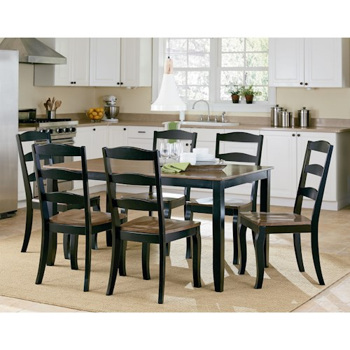 Standard Furniture Highland Black Table Set with Six Side Chairs