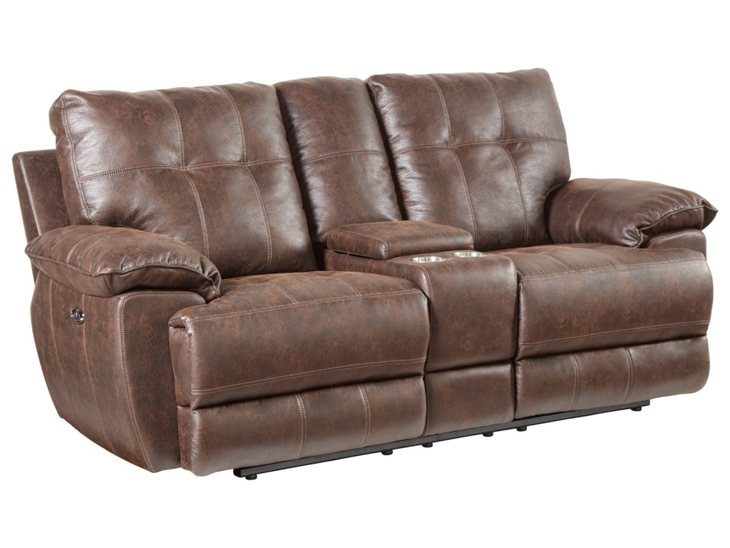 Standard Furniture HollisterLoveseat,Power Console -Brown