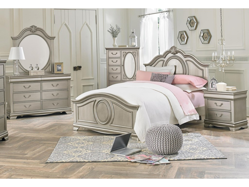 Standard Furniture Jessica Silver Full 5 Piece Bedroom Group Royal Furniture Bedroom Groups