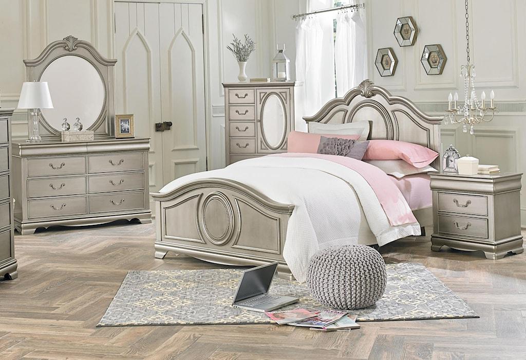 Standard furniture jessica silvertwin 5 piece bedroom group