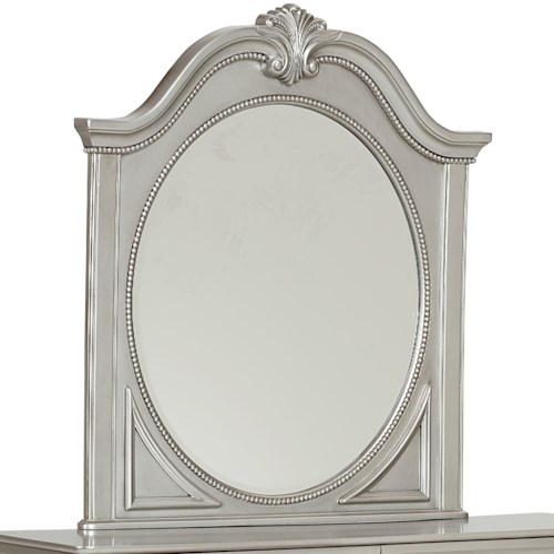Standard Furniture Jessica Silver Decorative Oval Shaped Mirror