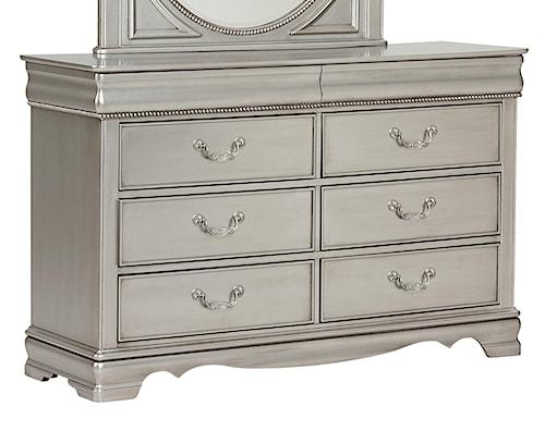 Standard Furniture Jessica Silver 8 Drawer Dresser with Scrolled Hardware Pulls