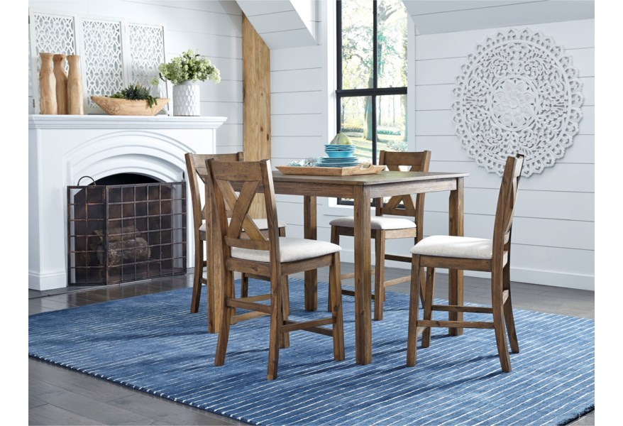 Standard Furniture Langston Dark Rustic 5 Piece Counter Height Dining Set With X Back Chairs Adcock Furniture Pub Table And Stool Sets