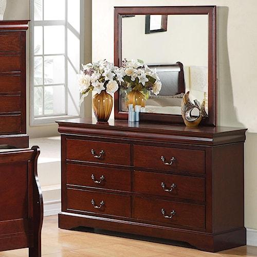 Standard Furniture Lewiston 6 Drawer Dresser with Mirror Combination