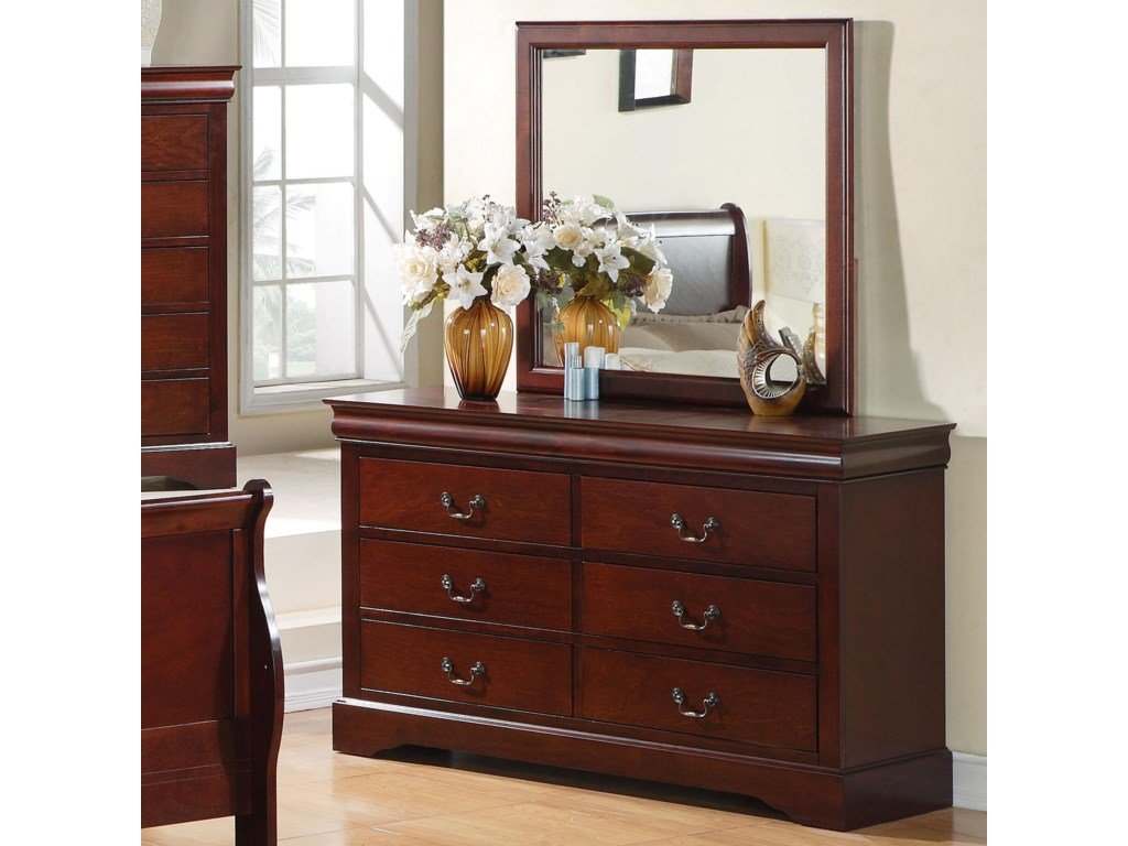 Standard Furniture Lewiston 6 Drawer Dresser With Mirror Combination