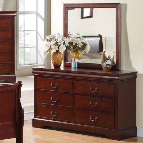 Standard Furniture Lewiston  Drawer Dresser With Mirror Combination