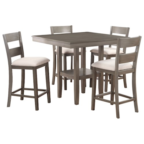 Standard Furniture Loft Five Piece Table and Chair Set with Grey Finish