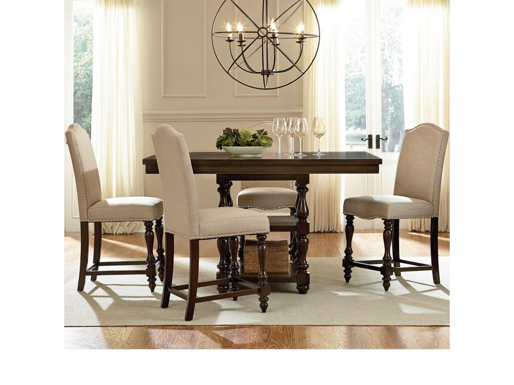 Standard Furniture McGregor Counter Height Table with 2 Shelves and ...