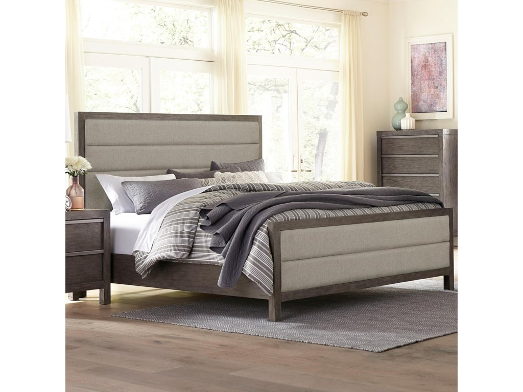 Melbourne heights contemporary upholstered queen panel bed with horizontal tufting by standard furniture