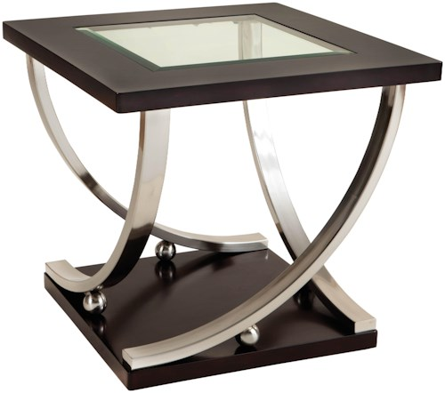Standard Furniture Melrose Square End Table with Glass Table Top