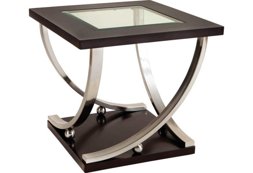 online store 524a3 2906f Melrose Square End Table with Glass Table Top by Standard Furniture at  Standard Furniture