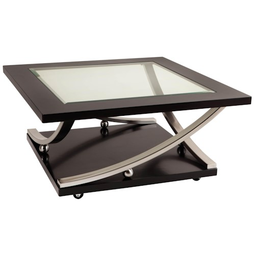 Standard Furniture Melrose Square Glass Top Cocktail Table with Casters