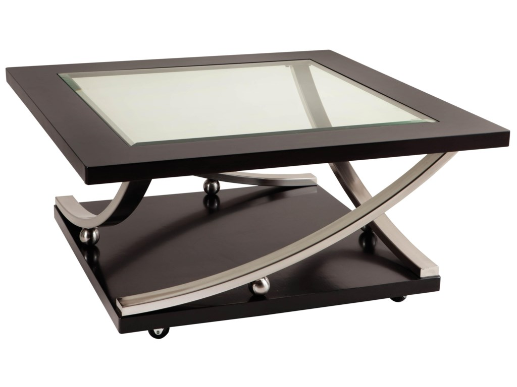 49fdabe98161bb Standard Furniture Melrose Square Glass Top Cocktail Table with Casters