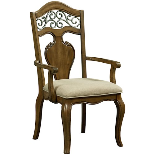 Standard Furniture Monterey Arm Chair with Upholstered Seat