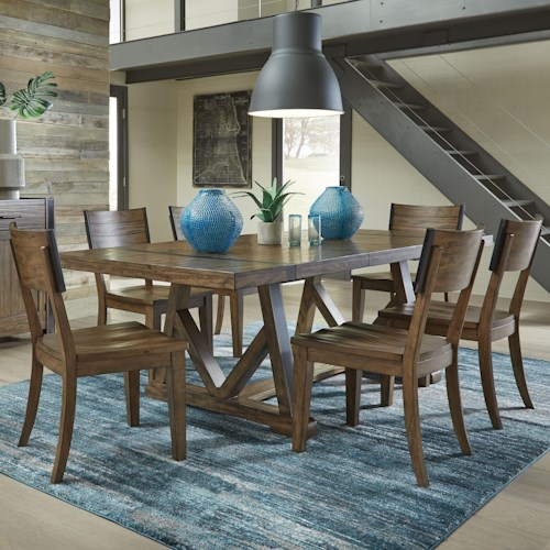 Standard Furniture Nelson 7 Piece Industrial Style Dining Set with ...