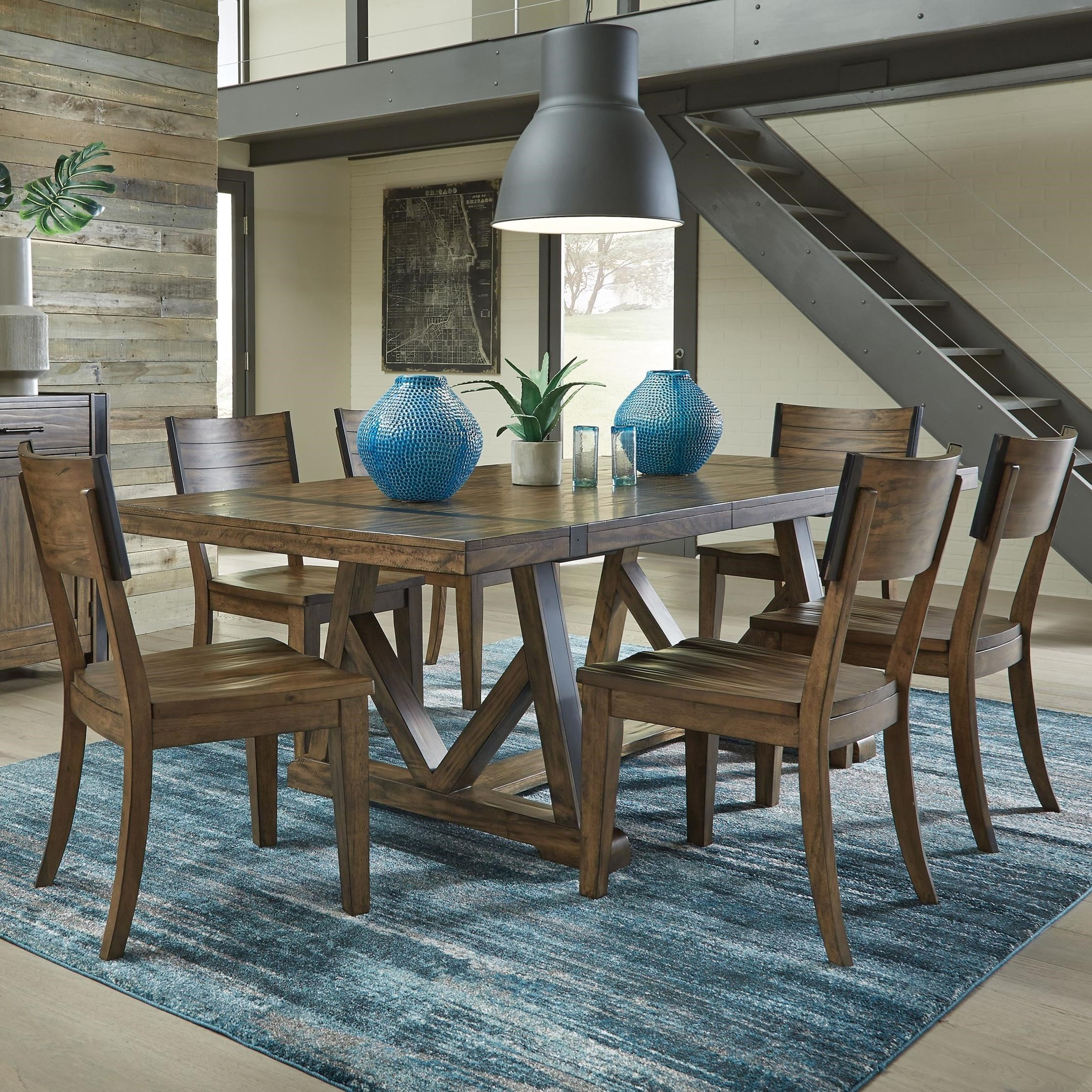 Standard Furniture Nelson 7 Piece Industrial Style Dining Set With Trestle  Table