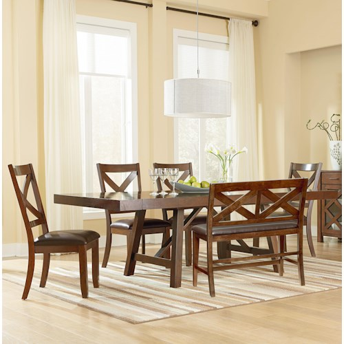 Standard Furniture Omaha Brown 6 Piece Table Set with Bench and Side Chairs