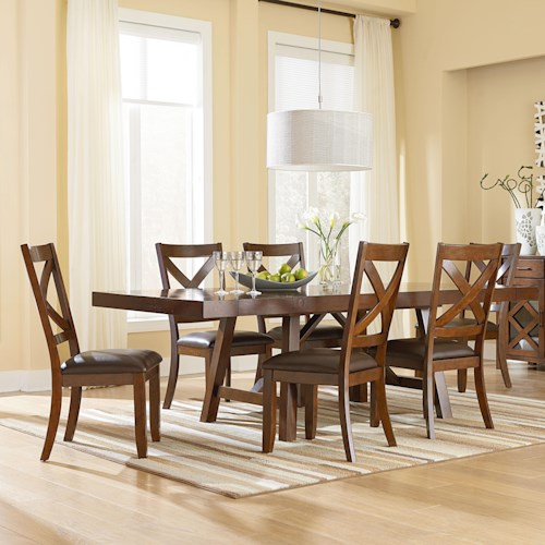 Standard Furniture Omaha Brown 7 Piece Table and Chair Set with Side Chairs