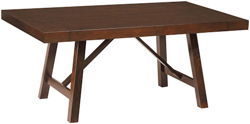 Standard Furniture Omaha Brown Trestle Dining Room Table with Two Leaves