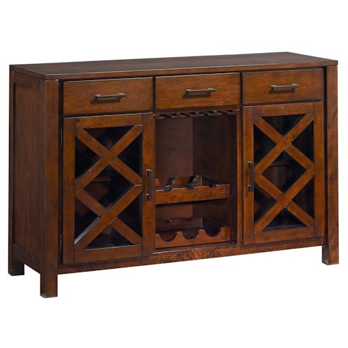 Standard Furniture Omaha Brown 3 Drawer Sideboard with Wine and Glass Rack and 2 Doors