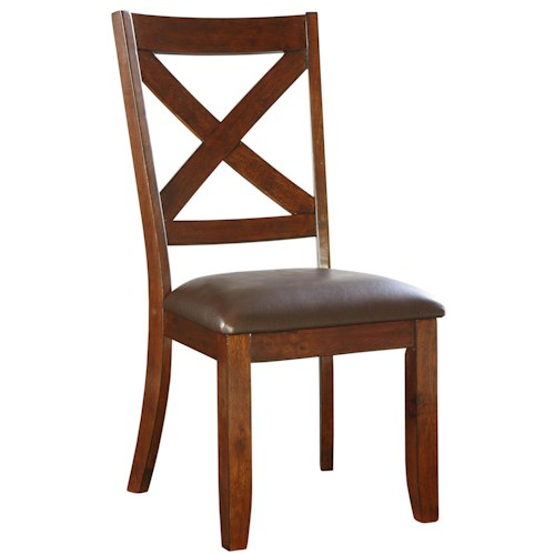Standard Furniture Omaha Brown Dining Side Chair with Upholstered Seat and X-Back