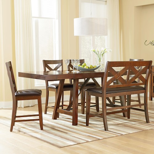 Standard Furniture Omaha Brown 6 Piece Counter Height Table Set with Bench and Bar Stools