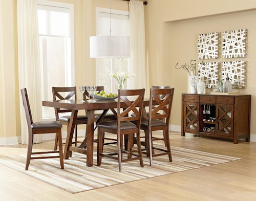 Standard Furniture Omaha Brown Counter Height 7 Piece Table Set with Bar Stools