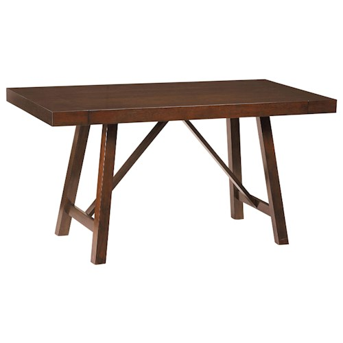 Standard Furniture Omaha Brown Counter Height Trestle Table with 2 Leaves