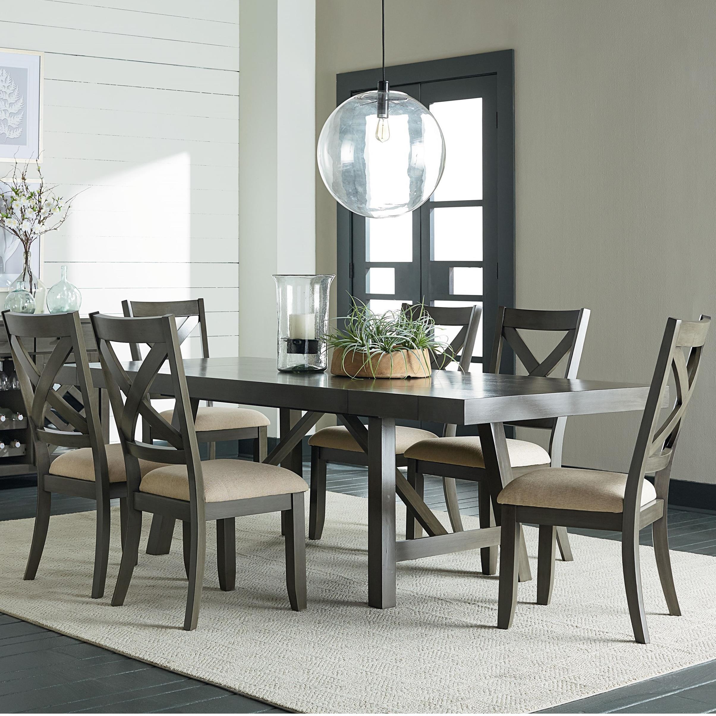Standard Furniture Omaha GreyTrestle Table Dining Set