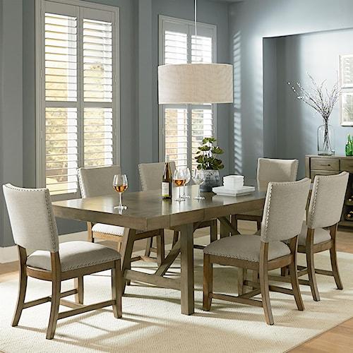 Standard Furniture Omaha Grey 7 Piece Trestle Table Dining Set