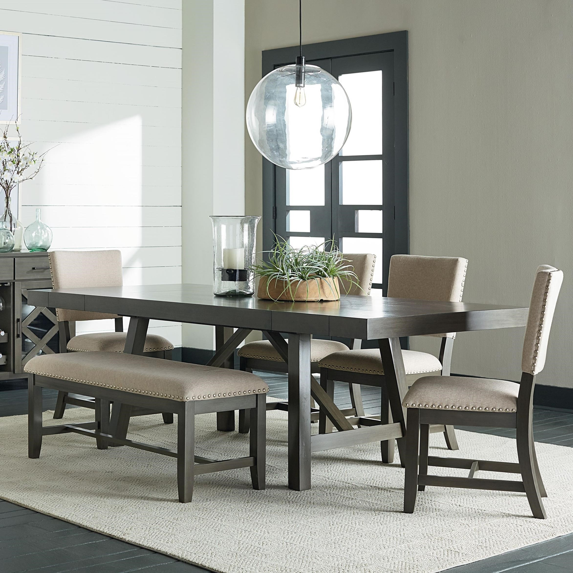 Exceptionnel Standard Furniture Omaha Grey 6 Piece Trestle Table Dining Set With Dining  Bench