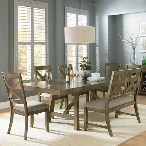 Standard Furniture Omaha Grey 6 Piece Trestle Table Dining Set