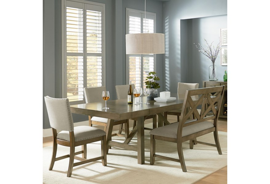 Omaha Grey Trestle Table Dining Set