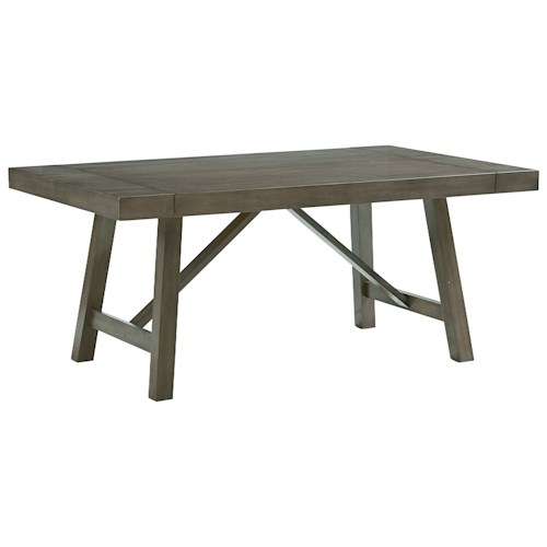 Standard Furniture Omaha Grey Trestle Dining Room Table with Two Leaves