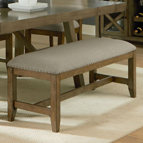 Standard Furniture Omaha Grey Upholstered Dining Bench