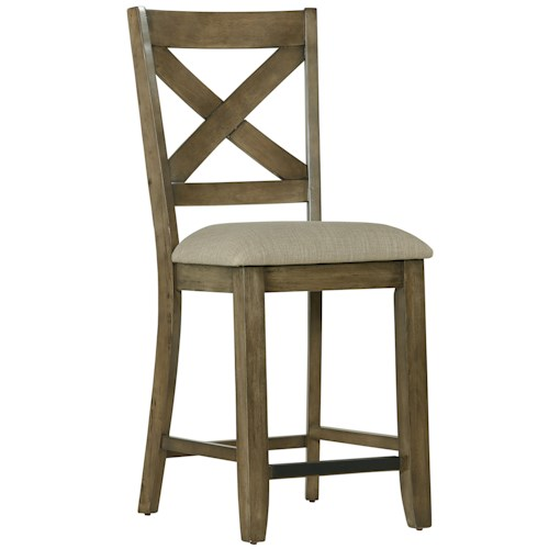 Standard Furniture Omaha Grey Counter Height Bar Stool with X-Back