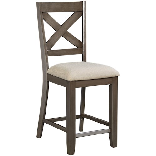 Standard Furniture Omaha Grey Counter Height Bar Stool With X Back