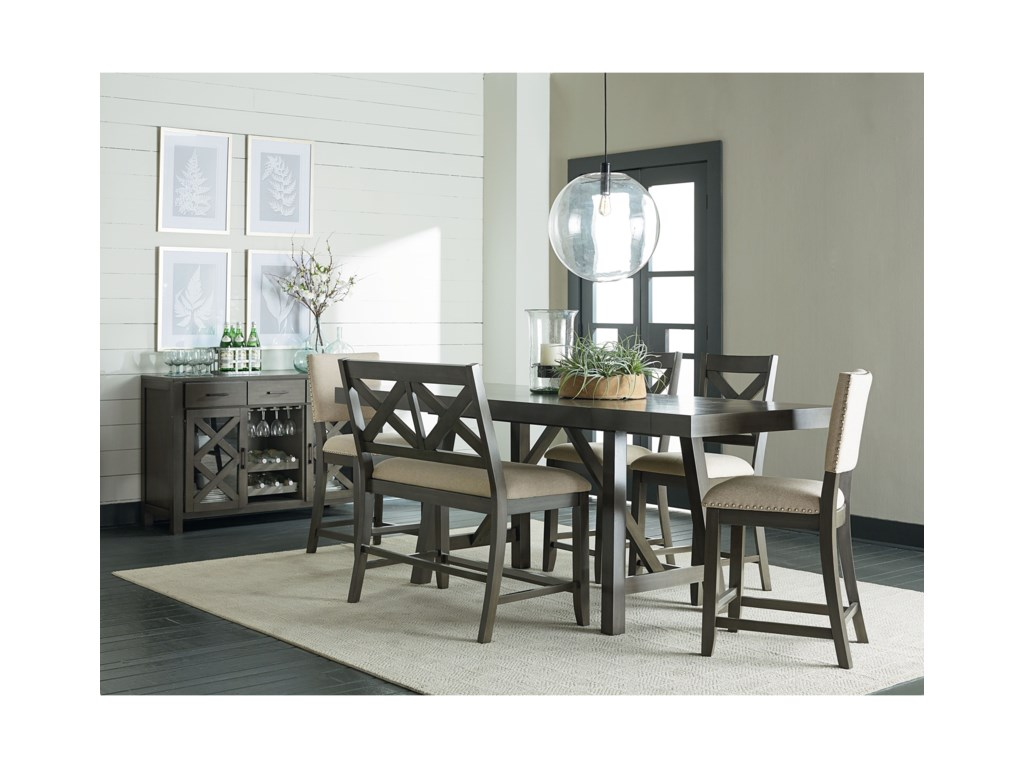Standard Furniture Omaha Grey 6 Piece Counter Height Trestle Table Dining Set