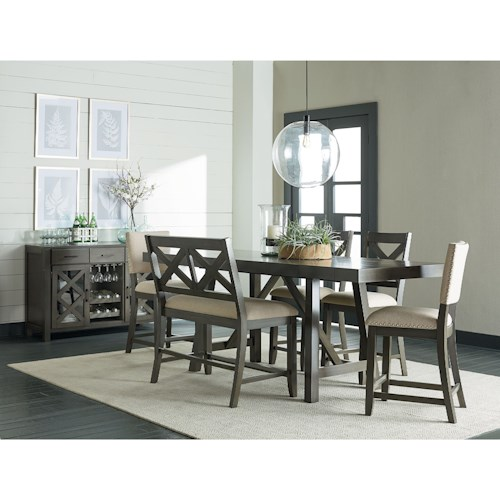 Standard Furniture Omaha Grey Piece Counter Height Trestle Table - Grey trestle dining table