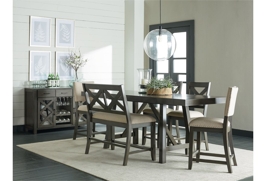 Standard Furniture Omaha Grey 6 Piece Counter Height Trestle Table Dining Set Adcock Furniture Pub Tables