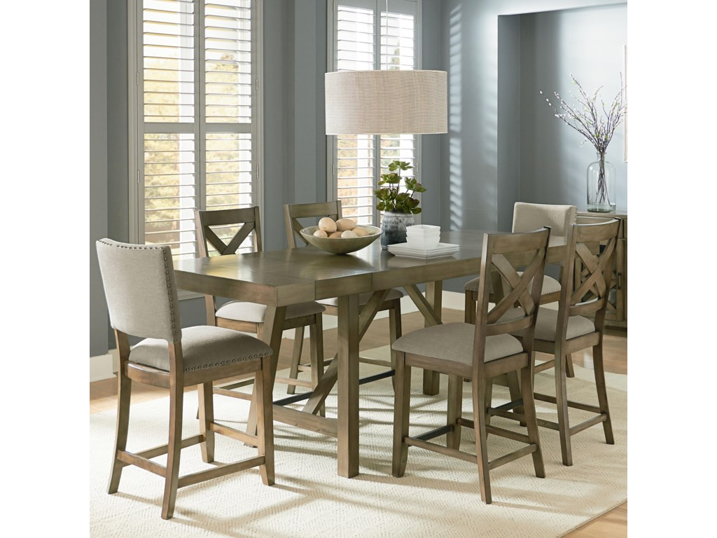 Omaha Grey Counter Height 7 Piece Dining Room Table Set By Standard Furniture At Wayside