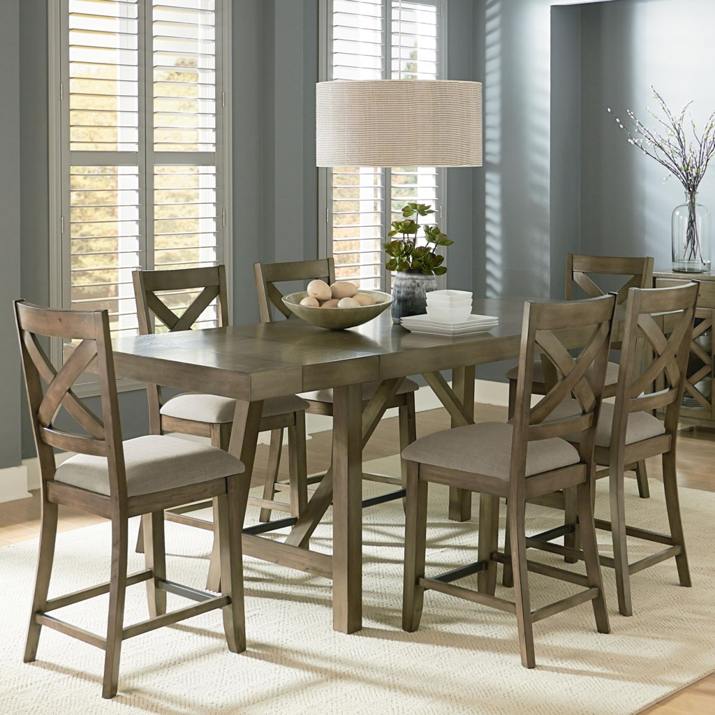 standard furniture omaha grey counter height 7-piece dining room
