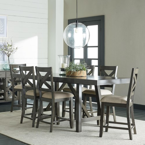 Counter Height 7 Piece Dining Room Table Set Omaha Grey