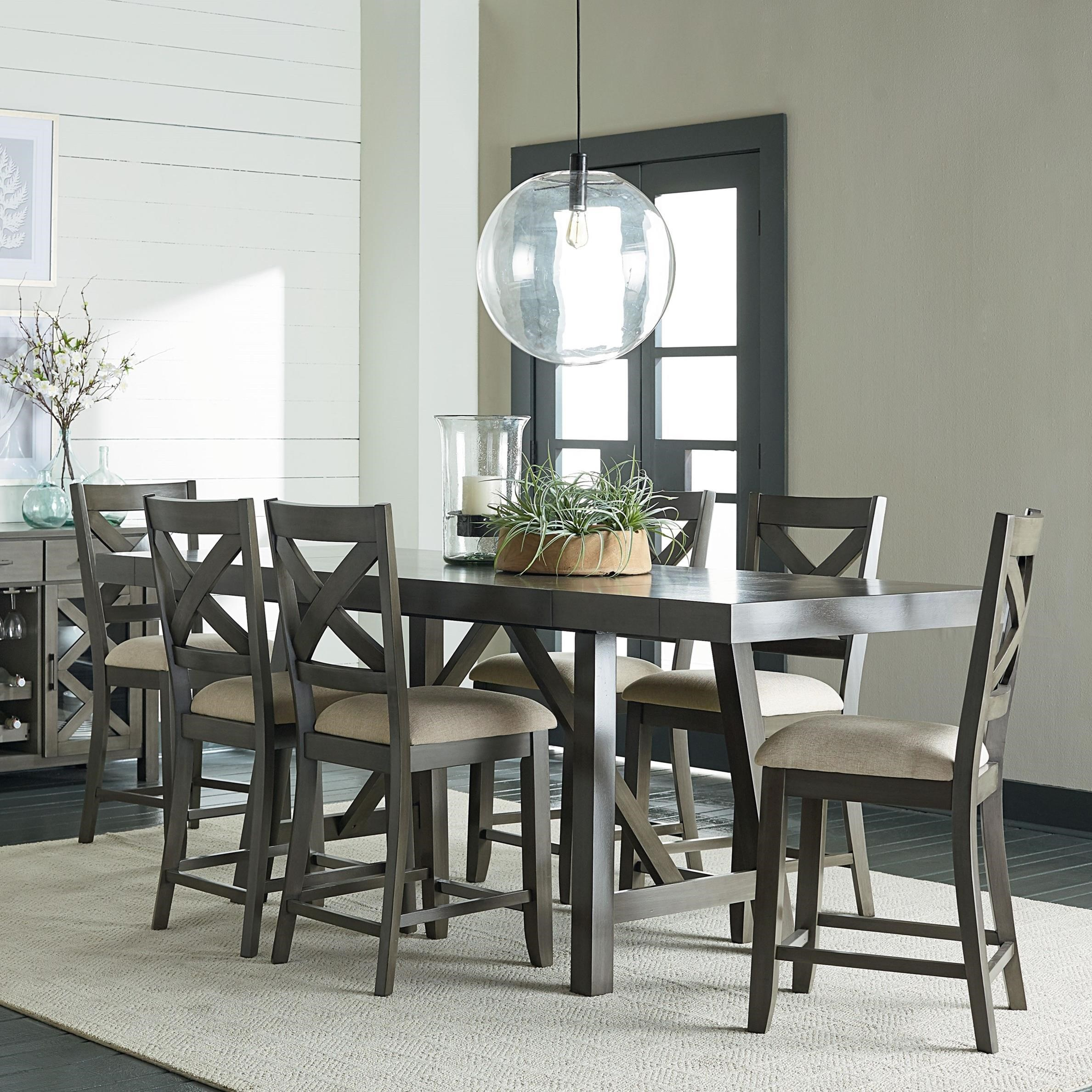 Standard Furniture Omaha Grey Counter Height 7 Piece Dining Room Table Set