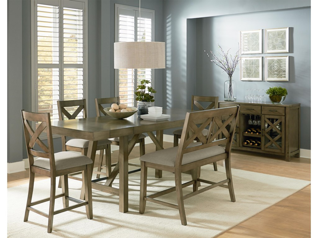 Standard Furniture Omaha Grey Counter Height 7-Piece Dining Room ...