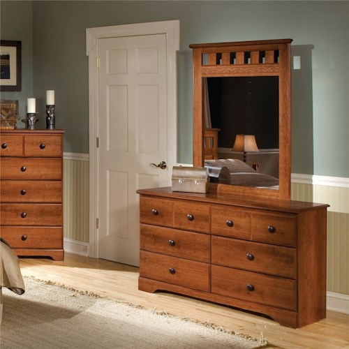 Standard Furniture Orchard Park 6-Drawer Dresser & Panel Mirror