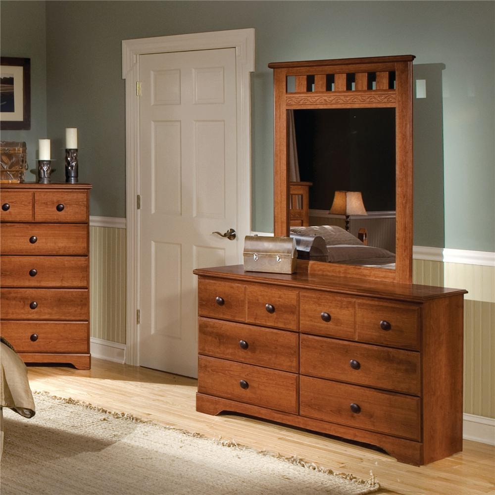 Standard Furniture Orchard Park 6 Drawer Dresser U0026 Panel Mirror | Dunk U0026  Bright Furniture | Dresser U0026 Mirror