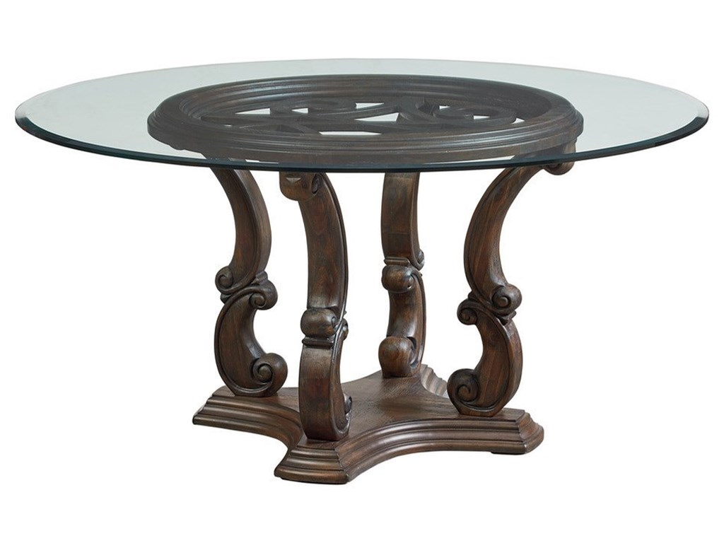 bc2c606c39c0b Standard Furniture Parliament Relaxed Vintage Round Dining Table with  Ornate Carved Base